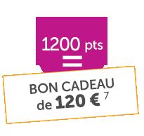Bon cadeau de 120€ 1200points